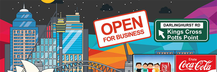 Sydney, Open for Business image. Darlinghurst Rd, Kings Cross, Potts Point
